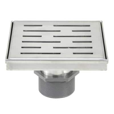 Shower Square Drain 6 in. Brushed 304 Stainless Steel Stripe Pattern Grate - Plus Reversible Tile Insert and Flat Grate