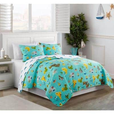 Around the World Multi Colored Reversible Super Soft Microfiber Twin Quilt Set