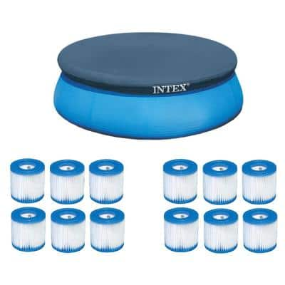8 ft. x 8 ft. Round Blue Above Ground Pool Leaf Polyethylene Cover plus 12 Type H Easy Set Filter