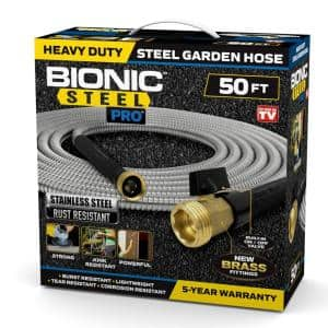 Pro 25 ft. Heavy-Duty Stainless Steel Garden Hose with Brass Fitting