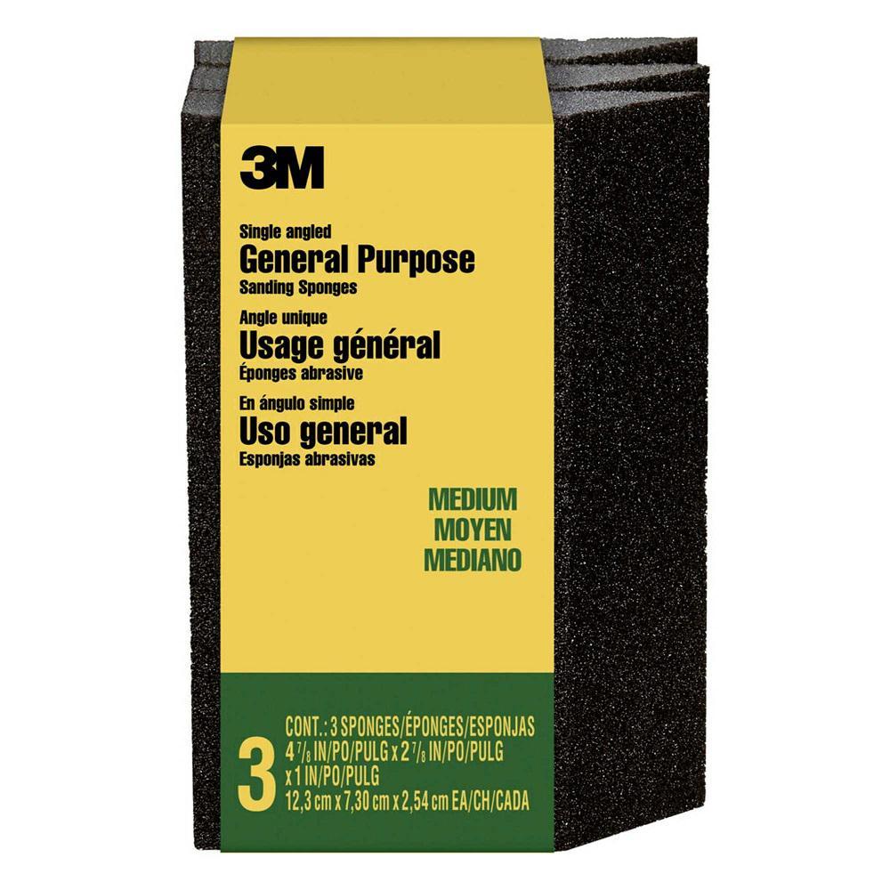 2-7/8 in. x 4-7/8 in. Medium-Grit Single Angled Sanding Sponge (3 Sponge-Pack)