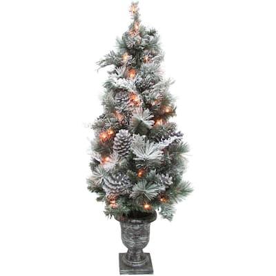 Prelit Christmas Snow Flocked Porch Tree, Green