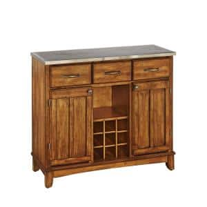 Cottage Oak and Stainless Steel Buffet with Wine Storage