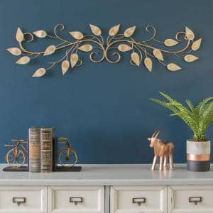 Brushed Gold Over the Door Metal Scroll Wall Decor