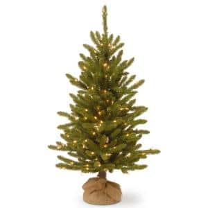 4 ft. Kensington Burlap Artificial Christmas Tree with Clear Lights