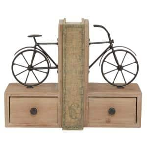 Brown Wood Farmhouse Motorcycle Bookends 9 in. x 5 in. (Set of 2)