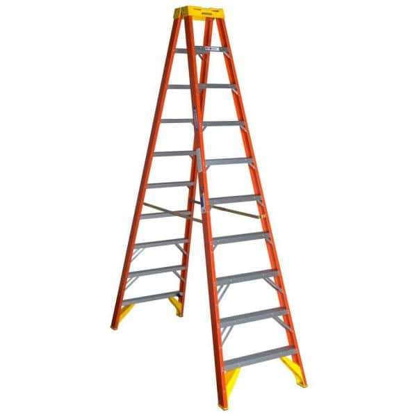 Werner 10 Ft Fiberglass Twin Step Ladder With 300 Lbs Load Capacity Type Ia Duty Rating T6210 The Home Depot