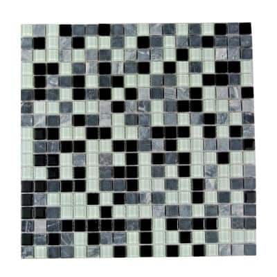 Crystal Stone Dreamer Black Square Mosaic 1 in x 1 in Glass and Stone Wall and Pool Tile (0.97 Sq. ft.)
