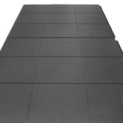 Revolution 5/8 in. T x 3 ft. W x 3 ft. L - Black - Interlocking Rubber Flooring Tiles (18 sq. ft.) (2-Pack)