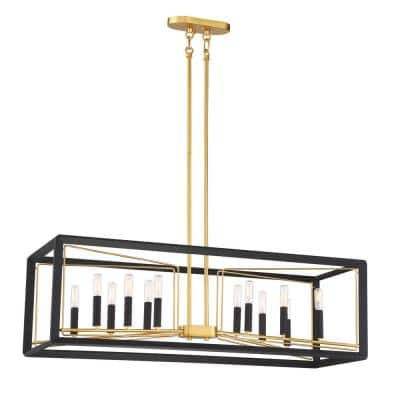 Sable Point 12-Light Sand Black Island Pendant with Honey Gold Accents