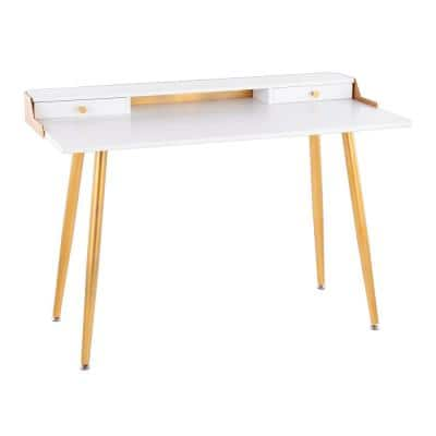 Harvey 47.5 in. Rectangular White Wood and Gold Metal 2-Drawer Writing Desk with Gold Accents
