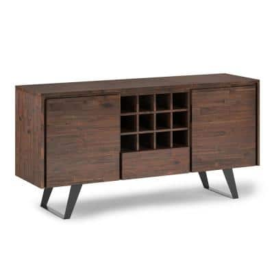 Lowry Distressed Charcoal Brown Sideboard Buffet with Wine Rack