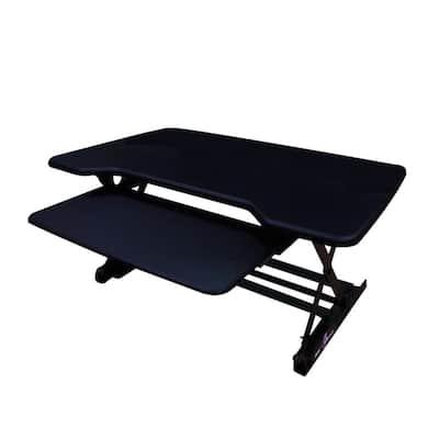 35 in. Medium, Black Height Adjustable Standing Desk Riser with Sliding Keyboard Tray