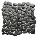 Black 12 in. x 12 in. Natural Pebble Stone Floor and Wall Tile