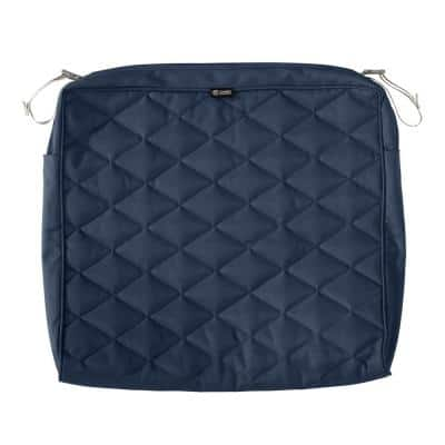 Montlake FadeSafe 21 in. W x 19 in. D x 3 in. T Navy Quilted Dining Cushion Slipcover