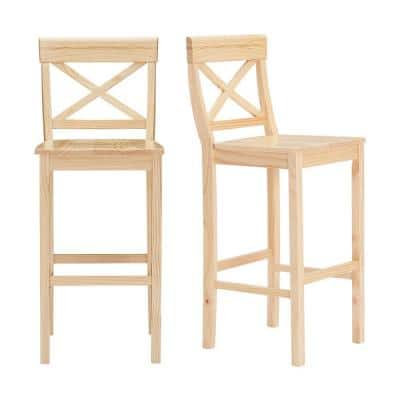 Cedarville Unfinished Wood Bar Stool with Cross Back (Set of 2) (18 in. W x 44.50 in. H)