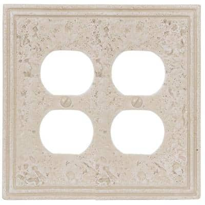 Faux Stone 2 Gang Duplex Resin Wall Plate - Almond