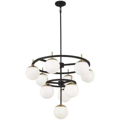 Alluria 10-Light Weathered Black with Autumn Gold Chandelier with Etched Opal Glass Shade