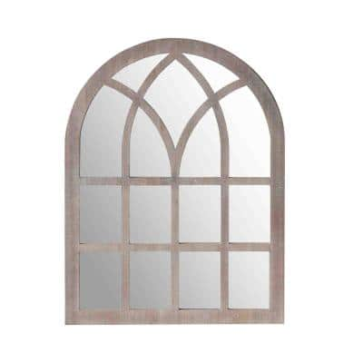 45.55 in. H x 1.06 in. W Washed Brown Arched Farmhouse Windowpane Wooden Wall Mirror
