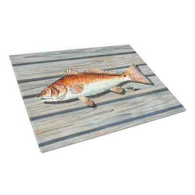 Red Fish on the Wharf Tempered Glass Cutting Board