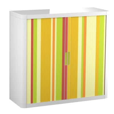 Paperflow easyOffice 41 in. Tall with 2-Shelves Storage Cabinet in Yellow Green and Red Vertical Stripe