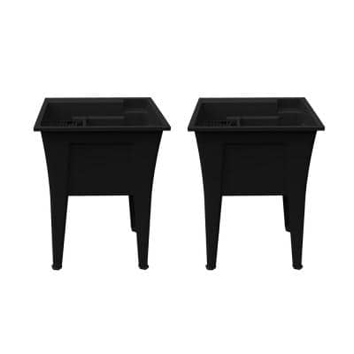 24 in. x 22 in. Recycled Polypropylene Black Laundry Sink (Pack of 2)