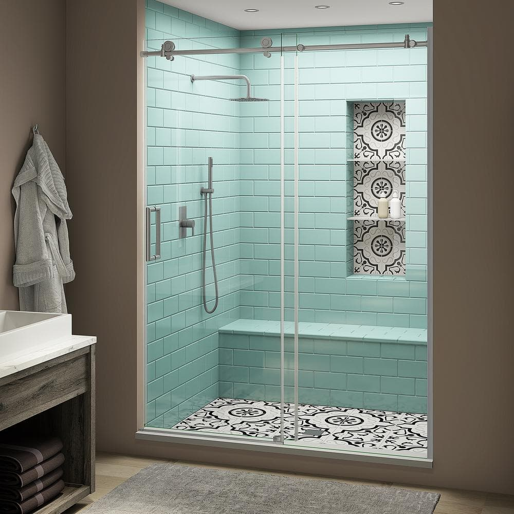 Aston Coraline Xl 56 60 In X 80 In Frameless Sliding Shower Door With Starcast Clear Glass In Stainless Steel Left Hand Sdr984ez Uc Ss 6080 L The Home Depot