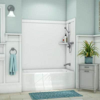 Elite 32 in. x 60 in. x 60 in. 9-Piece Easy Up Adhesive Tub Surround in White