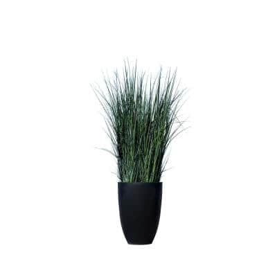 Large 27.56 in. Dia Black and Green Grass in Pot Plastic Indoor Outdoor Modern Round Planter with Artificial Plant