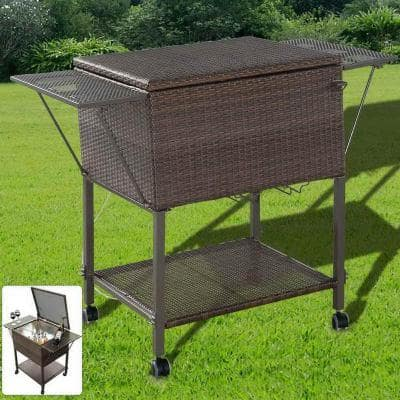 Portable Cooler Cart Serving Cart Outdoor Patio Pool Party Ice Drink Mix Brown
