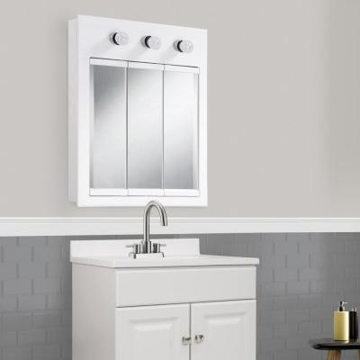 Concord 24 in. W White 3-Light Tri-View Surface-Mount Bathroom Medicine Cabinet Mirror