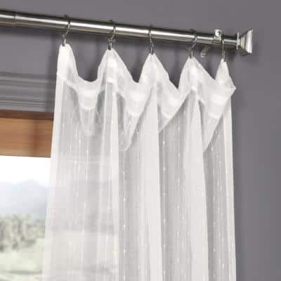 Montpellier Striped Rod Pocket Sheer Curtain - 50 in. W x 108 in. L