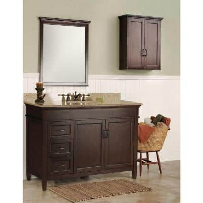 Ashburn 49 in. W x 22 in. D Bath Vanity in Mahogany with Left Drawers with Granite Vanity Top in Beige