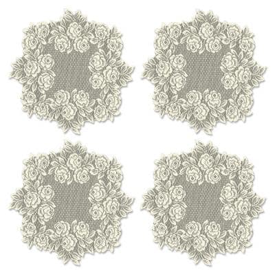 Tea Rose 15 in. Ecru Round Lace Polyester Doily (Set of 4)