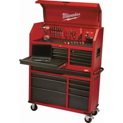 46 in. 8-Drawer Roller Cabinet Tool Chest in Red/Black Textured