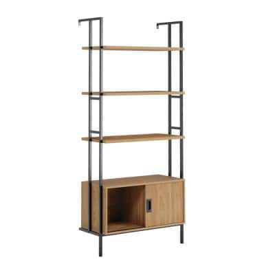 New Hyde 74.882 in.H Serene Walnut Engineered Wood 4-Shelf Wall-Mounted Bookcase with Sliding Door