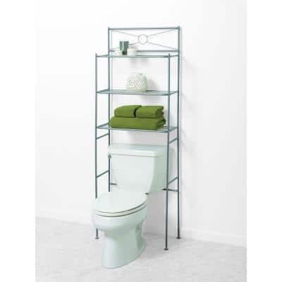 23 in. W x 64 in. H x 10 in. D Metal Over the Toilet Storage Space Saver in Satin Nickel