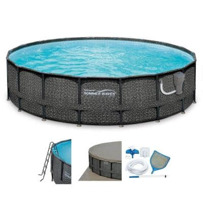 Elite 48 in. Deep Round 240 in. Above Ground Metal Frame Pool Set with Pump