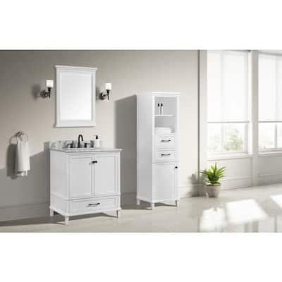 Merryfield 31 in. W x 22 in. D Bath Vanity in White with Marble Vanity Top in Carrara White with White Basin