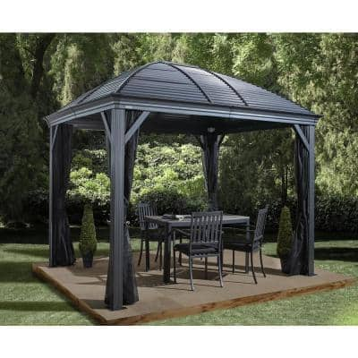 10 ft. D x 12 ft. W Moreno Aluminum Gazebo with Galvanized Steel Roof Panels, 2-Track System, and Mosquito Netting
