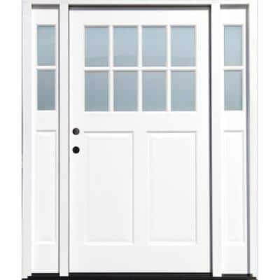Cottage 65 in.x 80 in. White Right Hand Inswing Clear 8-Lite 2-Panel Painted Wood Prehung Entry Door with 9 in. Sidelite
