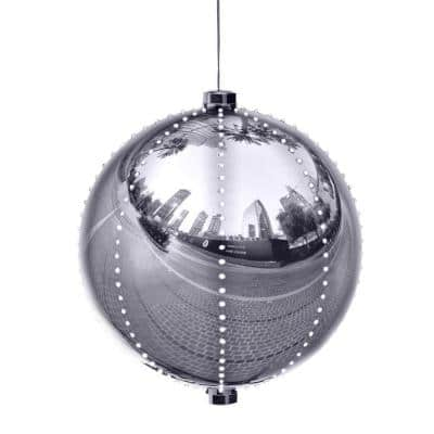 13 in. Tall Large Hanging Christmas Ball Ornament with LED Lights, Silver
