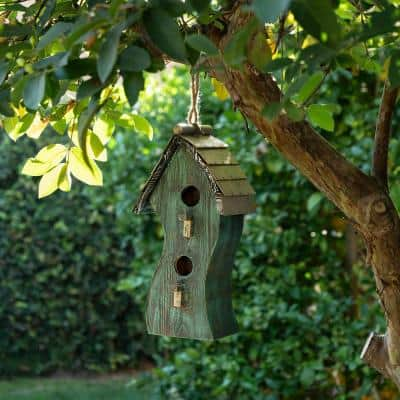 17 in. Tall Outdoor Artful Swirly Hanging Wooden Birdhouse, Green
