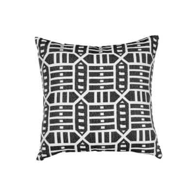 Roland Charcoal Square Outdoor Accent Throw Pillow