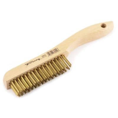 10-1/4 in. Wood Shoe Handled Brass Wire Scratch Brush