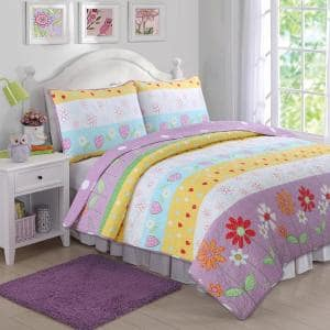 2-Piece Multi-Color Purple Pink Yellow Blue Stripe Heart Floral Garden Playful Girl Fun Cotton Poly Twin Quilt Bed Set