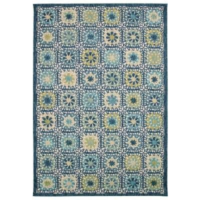 Portofino Boho Tiles Aqua 3 ft. x 5 ft. Indoor/Outdoor Area Rug