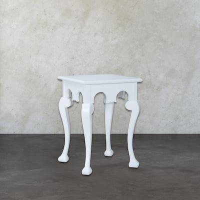 Manor Cabriole Grain De Bois Blanc Side Table