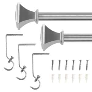 48 in. - 84 in. Telescoping 5/8 in. Single Curtain Rod Kit in Brushed Nickel with Urn Square Finials