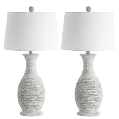 Bentlee 30 in. Grey Textured Hue Table Lamp with White Shade (Set of 2)